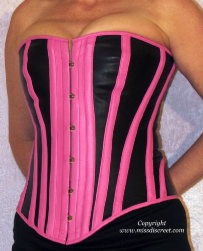 "Top Quality Pink & Black Real Leather Steel Boned Overbust Corset - To Suit 25/26"" Waist"